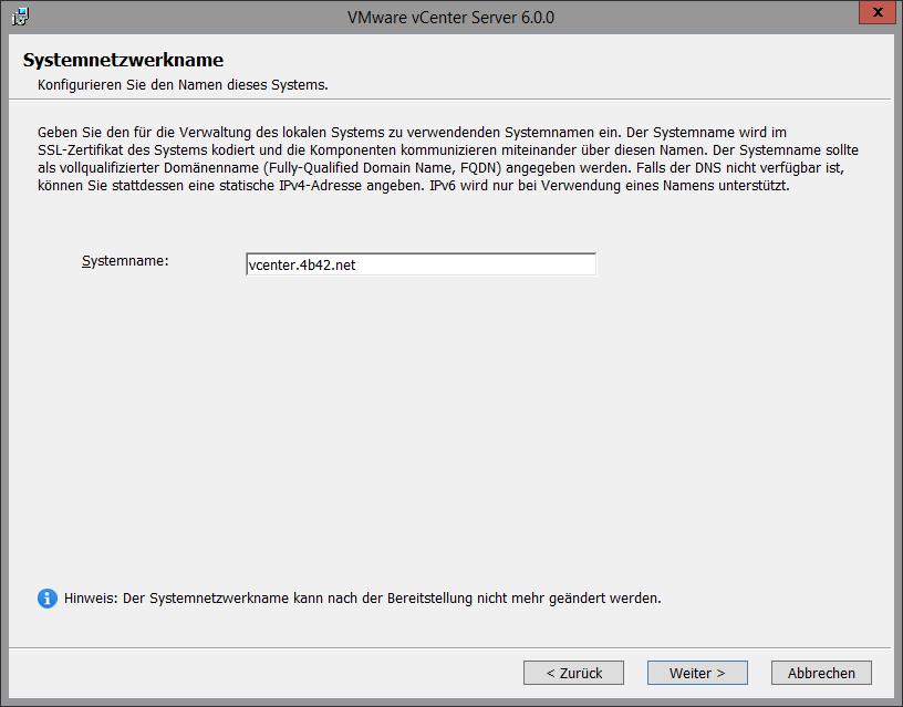 Wissensdatenbank: VMware vCenter 6.0 installation auf einem ...