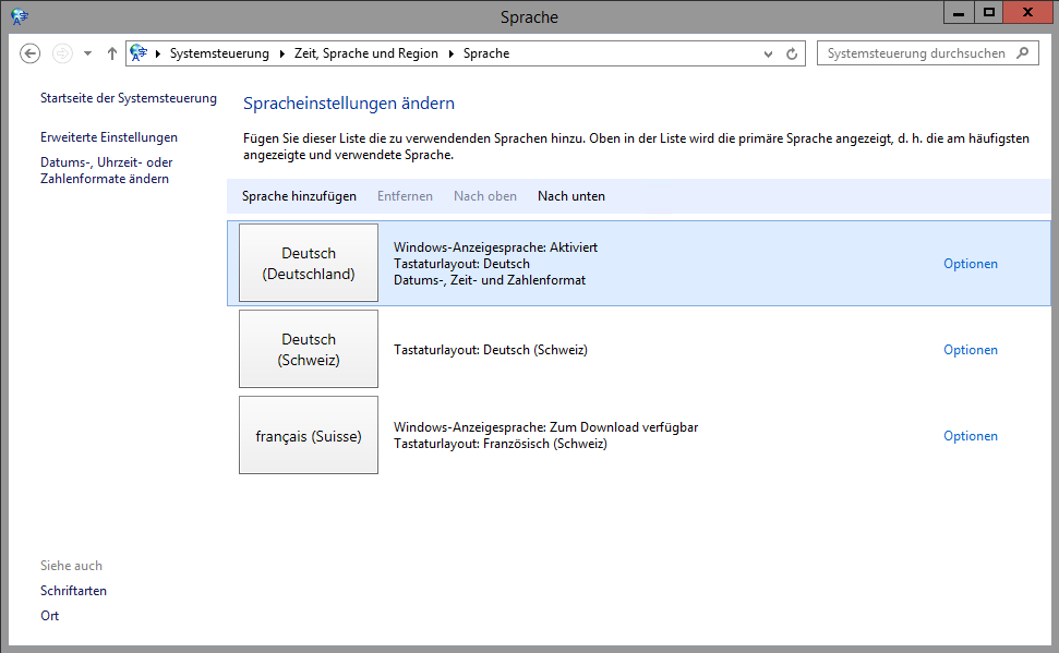 Windows Sprache