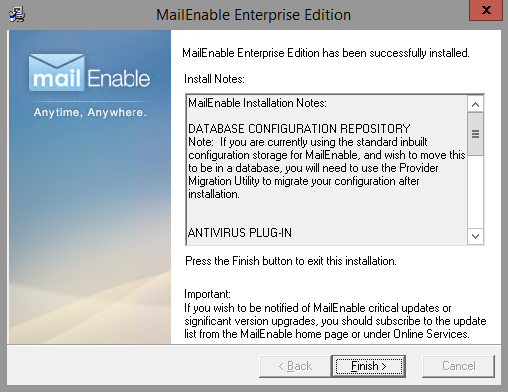 MailEnable Installed