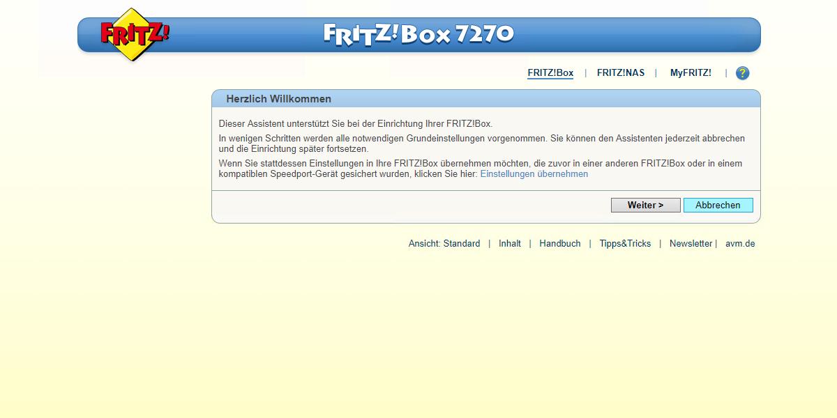 wissensdatenbank konfiguration einer avm fritz box 7270. Black Bedroom Furniture Sets. Home Design Ideas